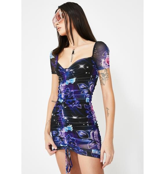 Jaded London 80s Floral Print Ruched Mesh Mini Dress