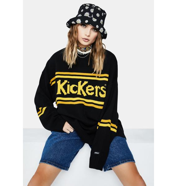 The Ragged Priest X Kickers Black And Yellow Knitted Sweater
