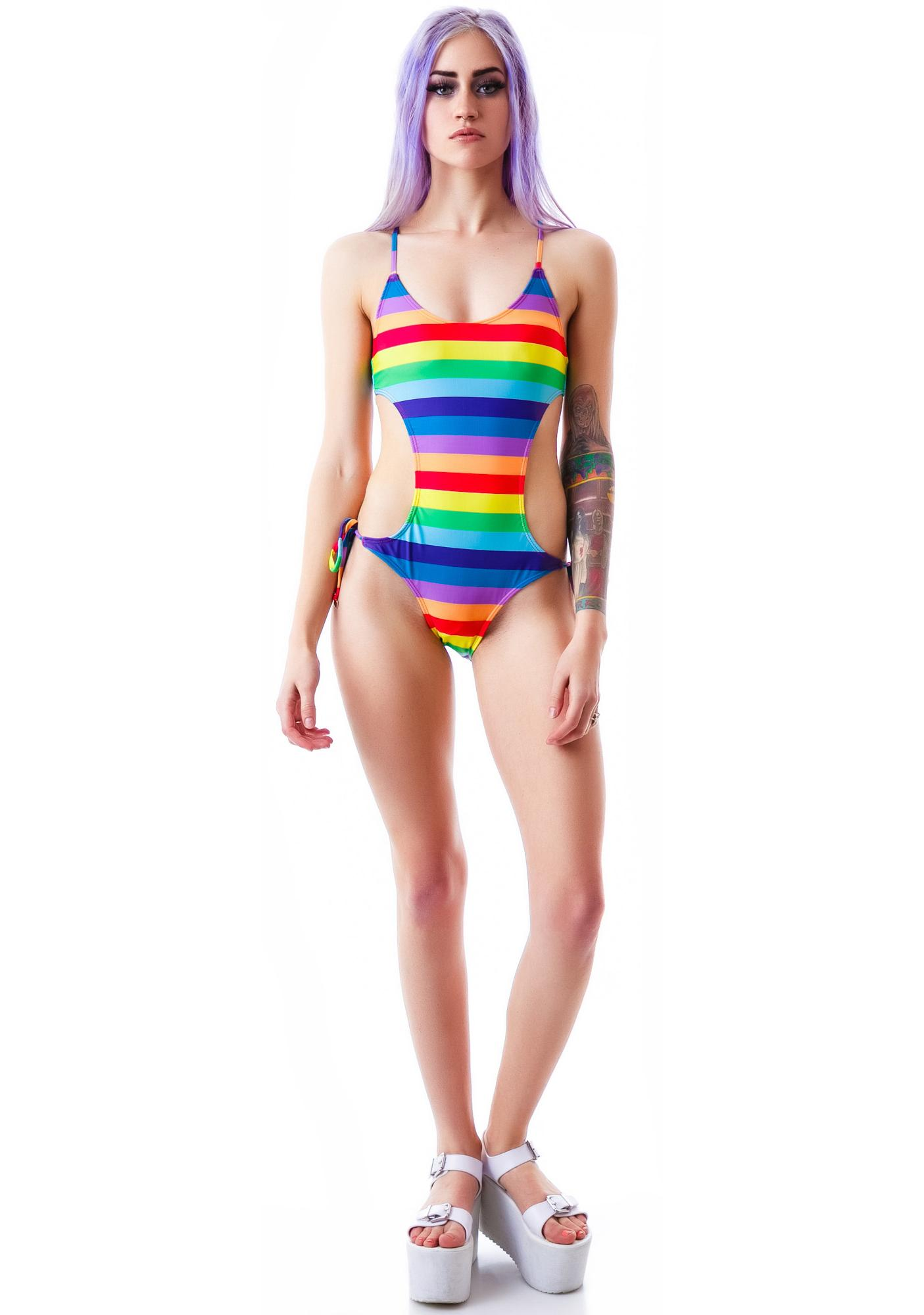 Wildfox Couture 70's Rainbow Monokini