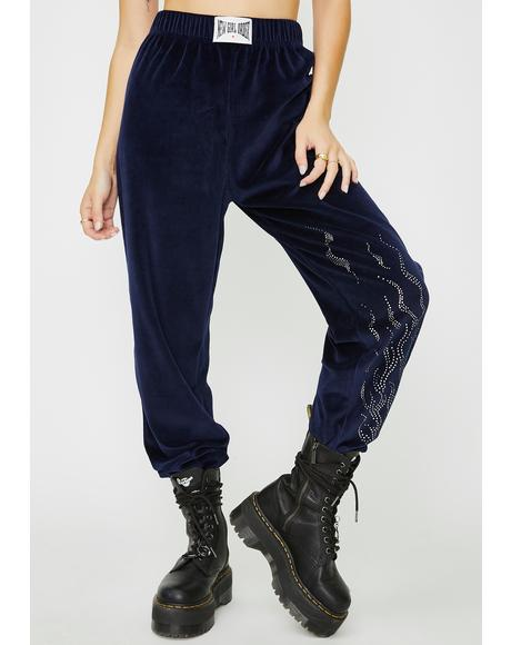 Diamonte Flame Velour Joggers