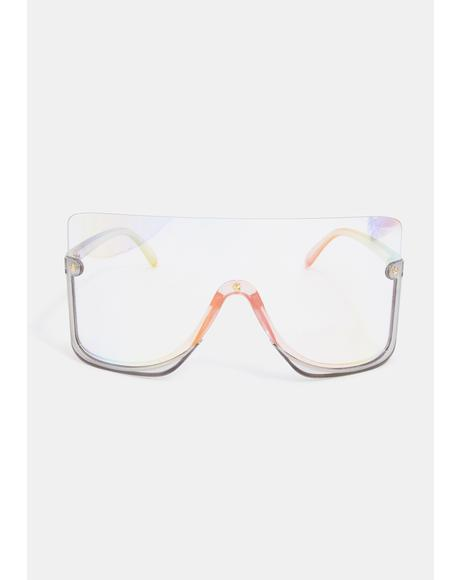 Clear Broken Promises Oversized Sunglasses