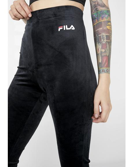 Tonia High Waisted Flared Velour Pants