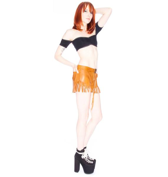 One Teaspoon Morrison Fringed Leather Shorts