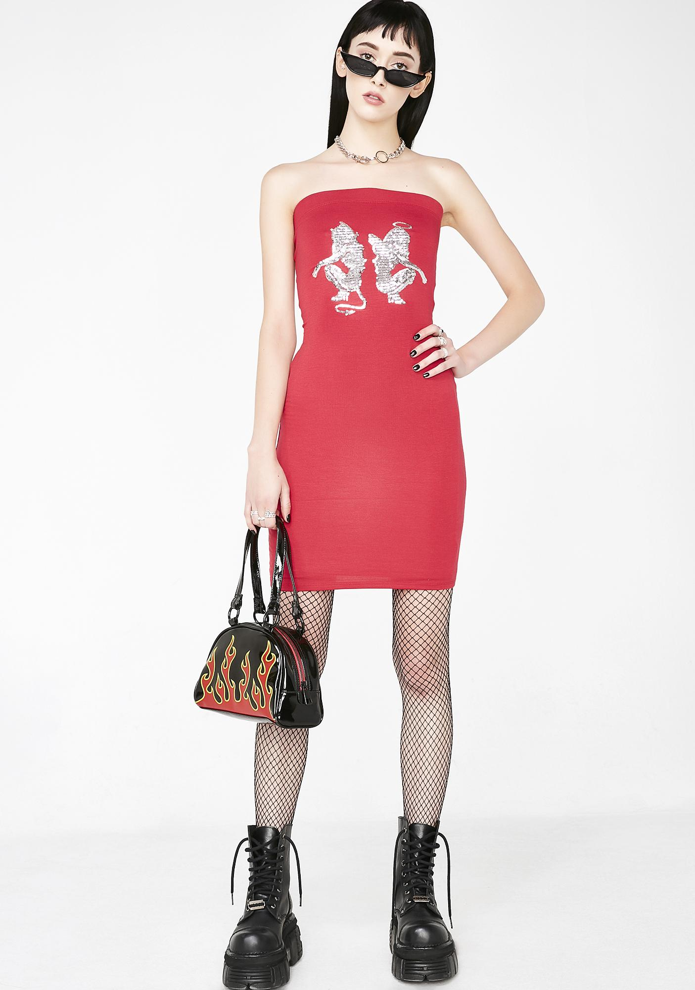 O Mighty Angel Devil Sequin Dress in Red