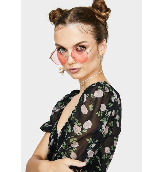 Rose Busy Dreaming Circle Sunglasses