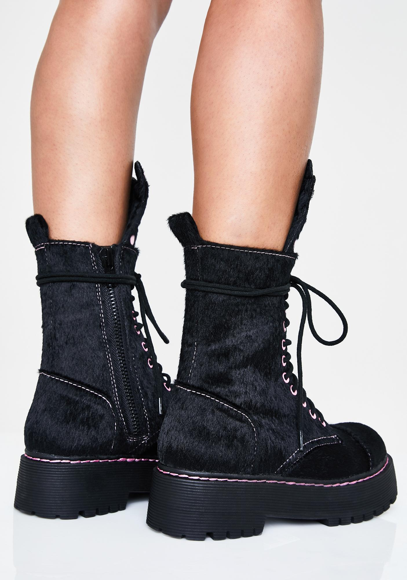 Sugar Thrillz Best Furrends Combat Boots