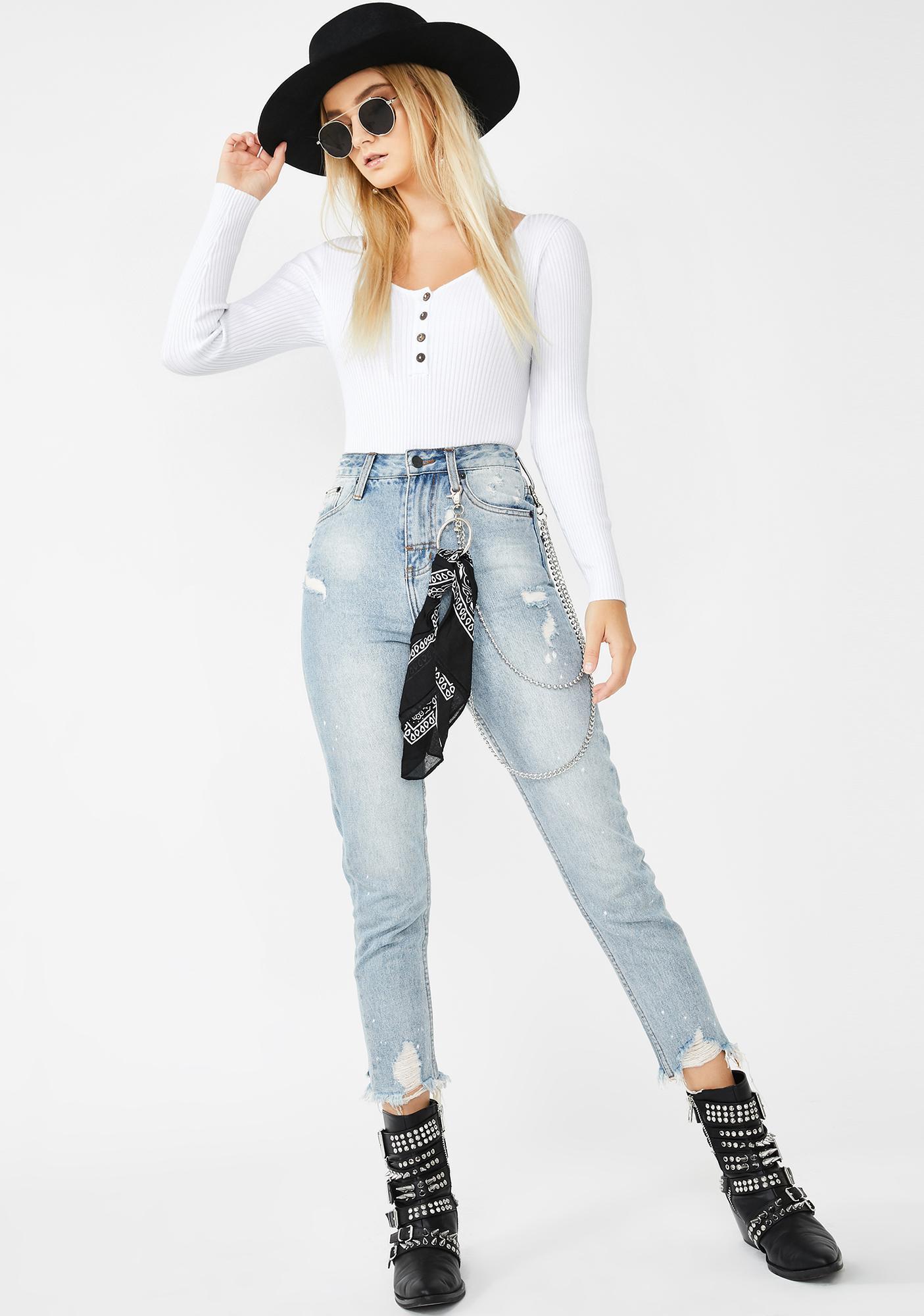 SNDYS. THE LABEL White Ryder Knit Bodysuit