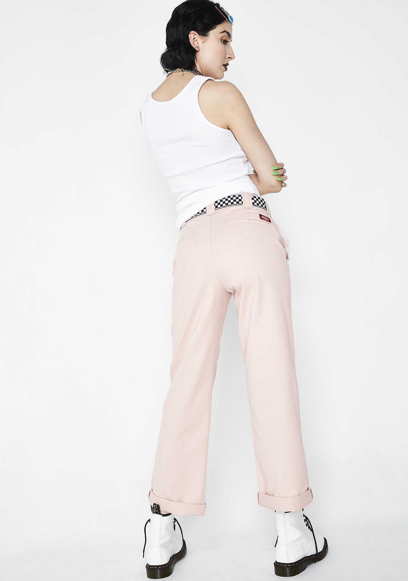 Dickies Girl Blush Work Crop Roll Hem Pants