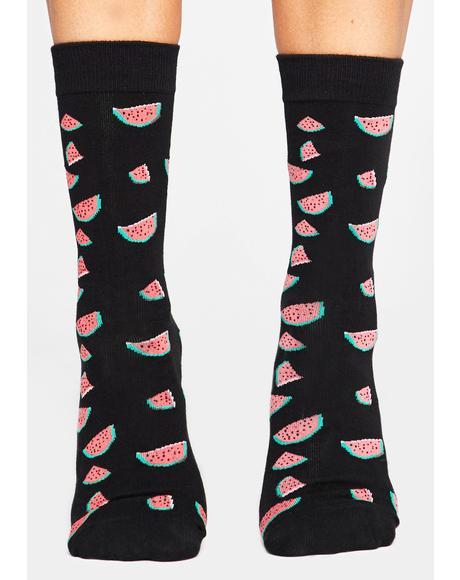 Nice Melons Crew Socks