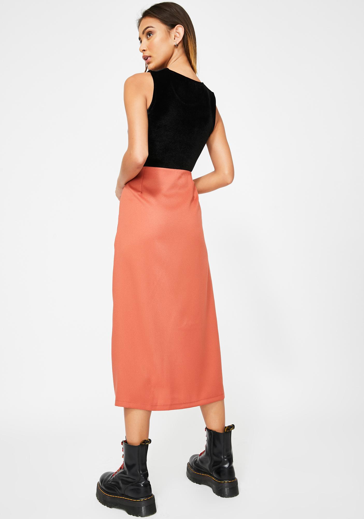 Momokrom Rust Side Split Midi Skirt