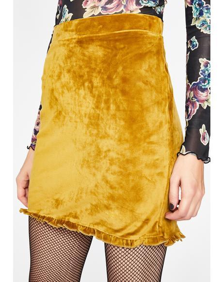 Sunny Frilly Femme Velvet Skirt