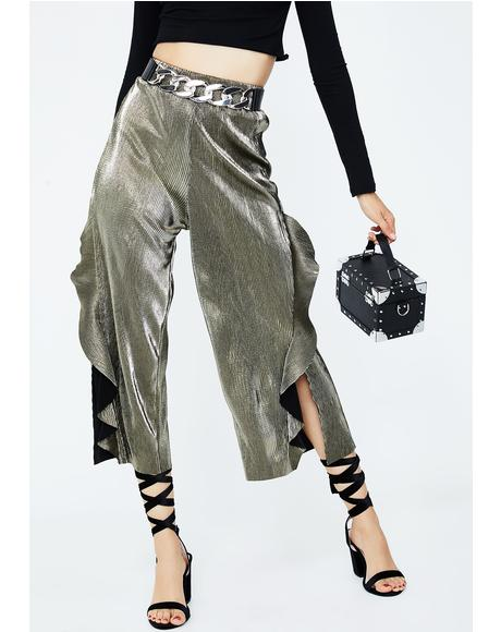 Shimmery Frills Crop Pants
