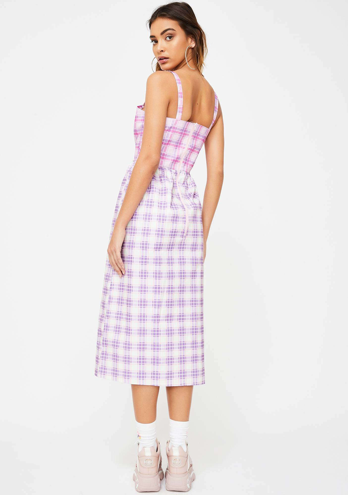JUNGLECLUB CLOTHING Gingham Tank Midi Dress