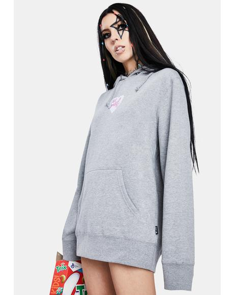 Heather Grey Plastic Heart Pullover Hoodie