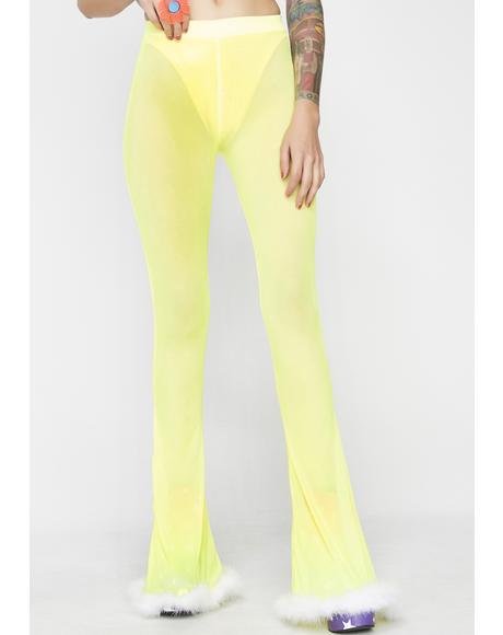 Yellow Sheer Flares And Lycra Hot Pants