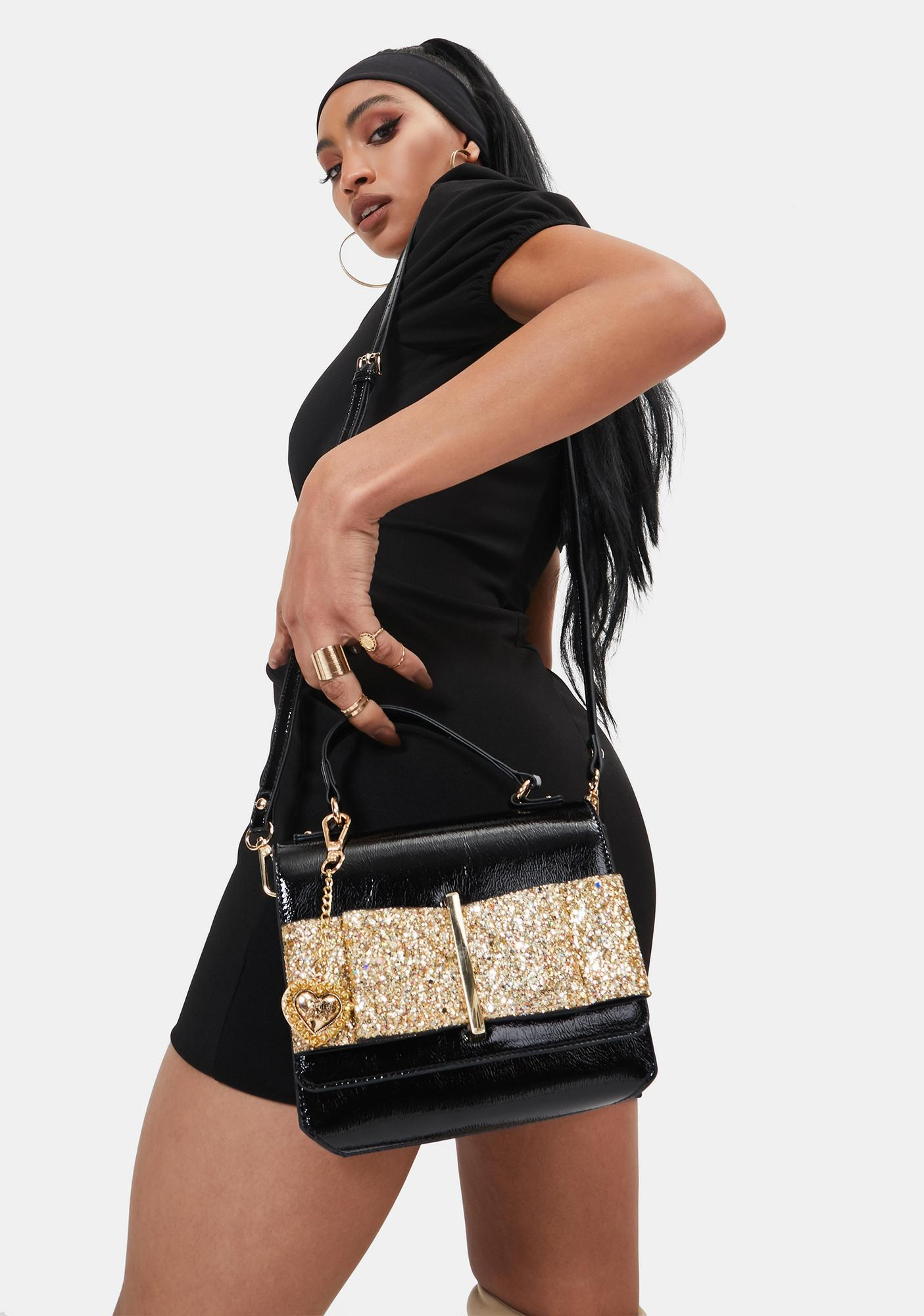 Betsey Johnson Glitter Bow Crossbody Bag