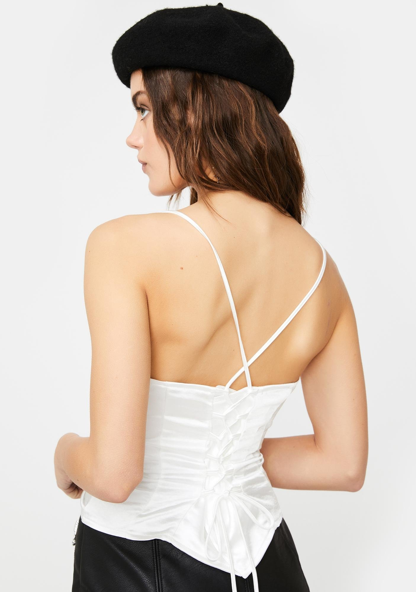 Motel Cosey Lace-Up Corset Top