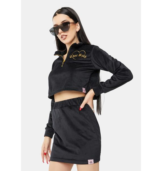 Cotton Candy Apparel That Bitch Velour Skirt Set