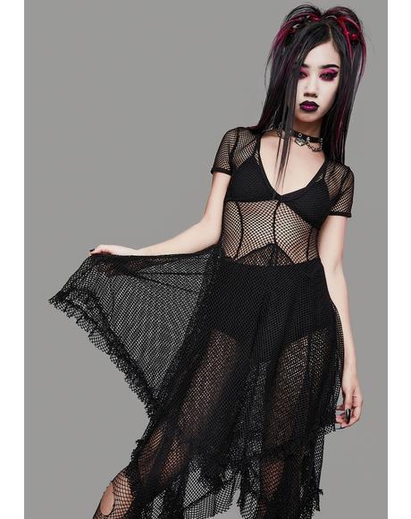 Toxic Valentine Fishnet Midi Dress