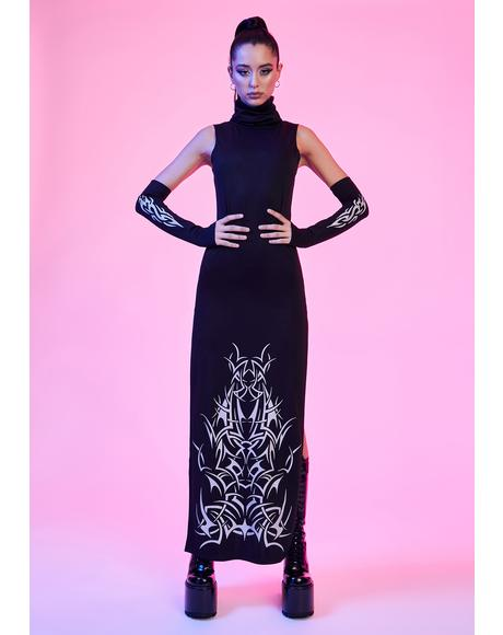 So Defenseless Reflective Maxi Dress