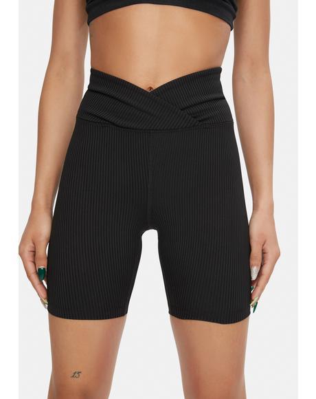 Ribbed V Waist Biker Shorts
