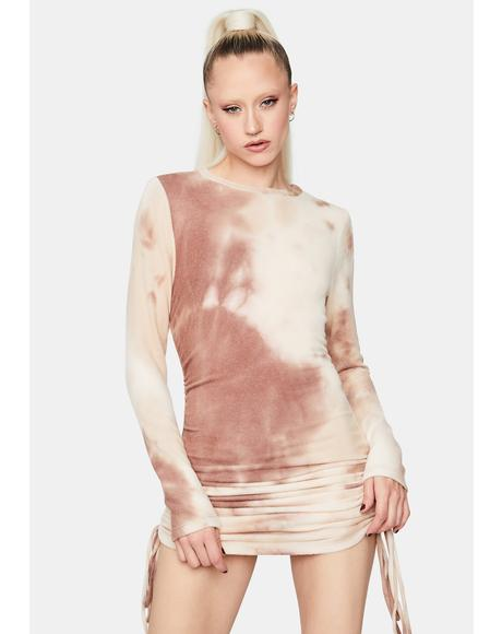 Desert Sun Ruched Tie Dye Dress