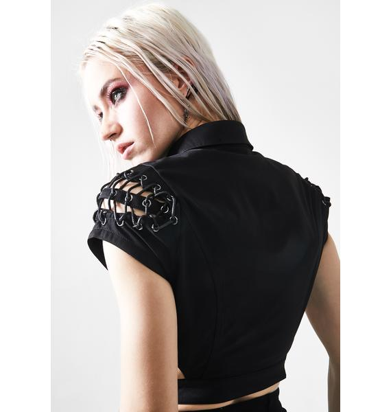 Punk Rave Dark Girl Hollow Metal Cut Out Top