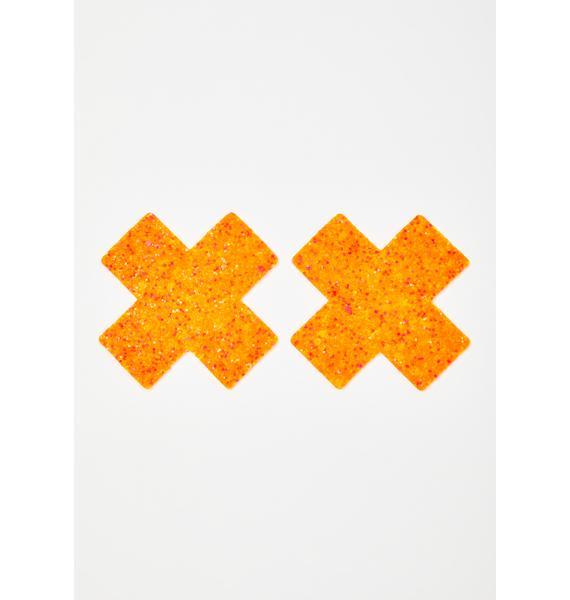 Neva Nude Orange Sparkle Cross Pasties