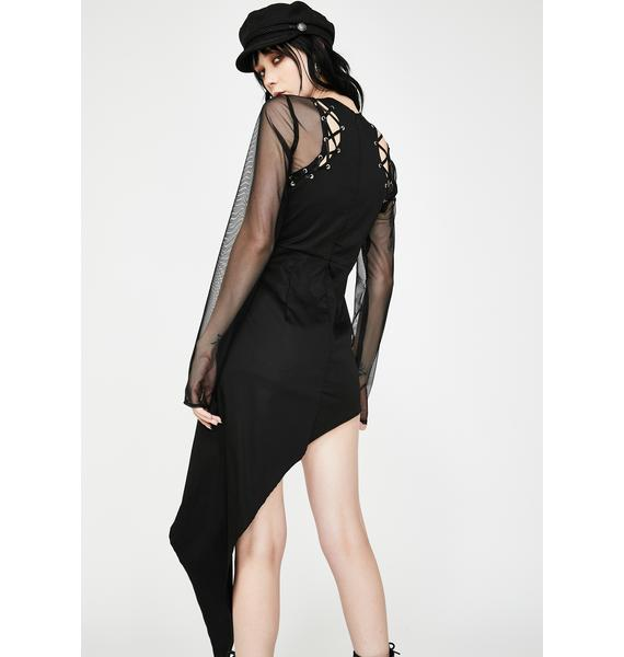 Dr. Faust Mesh Asymmetrical Bodycon Mini Dress