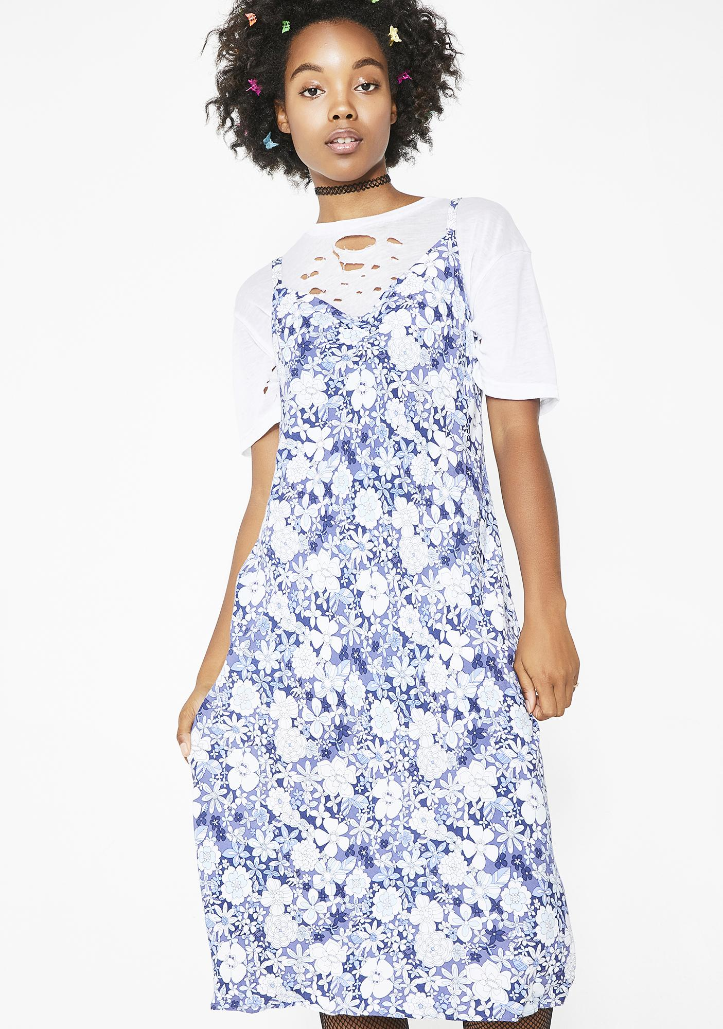 Vintage 90s Blue Floral Midi Dress