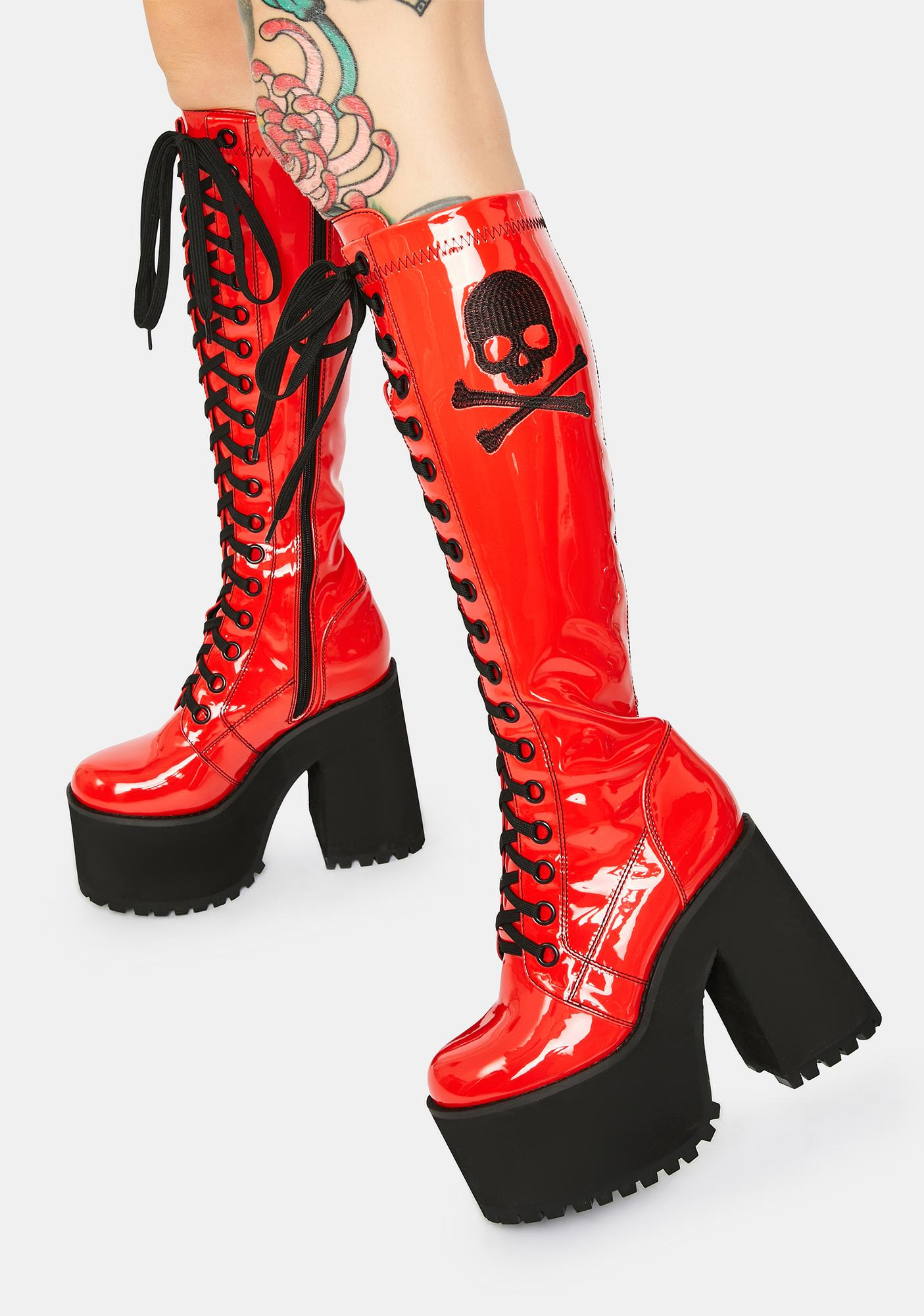 Current Mood Famous Last Words Patent Knee High Boots