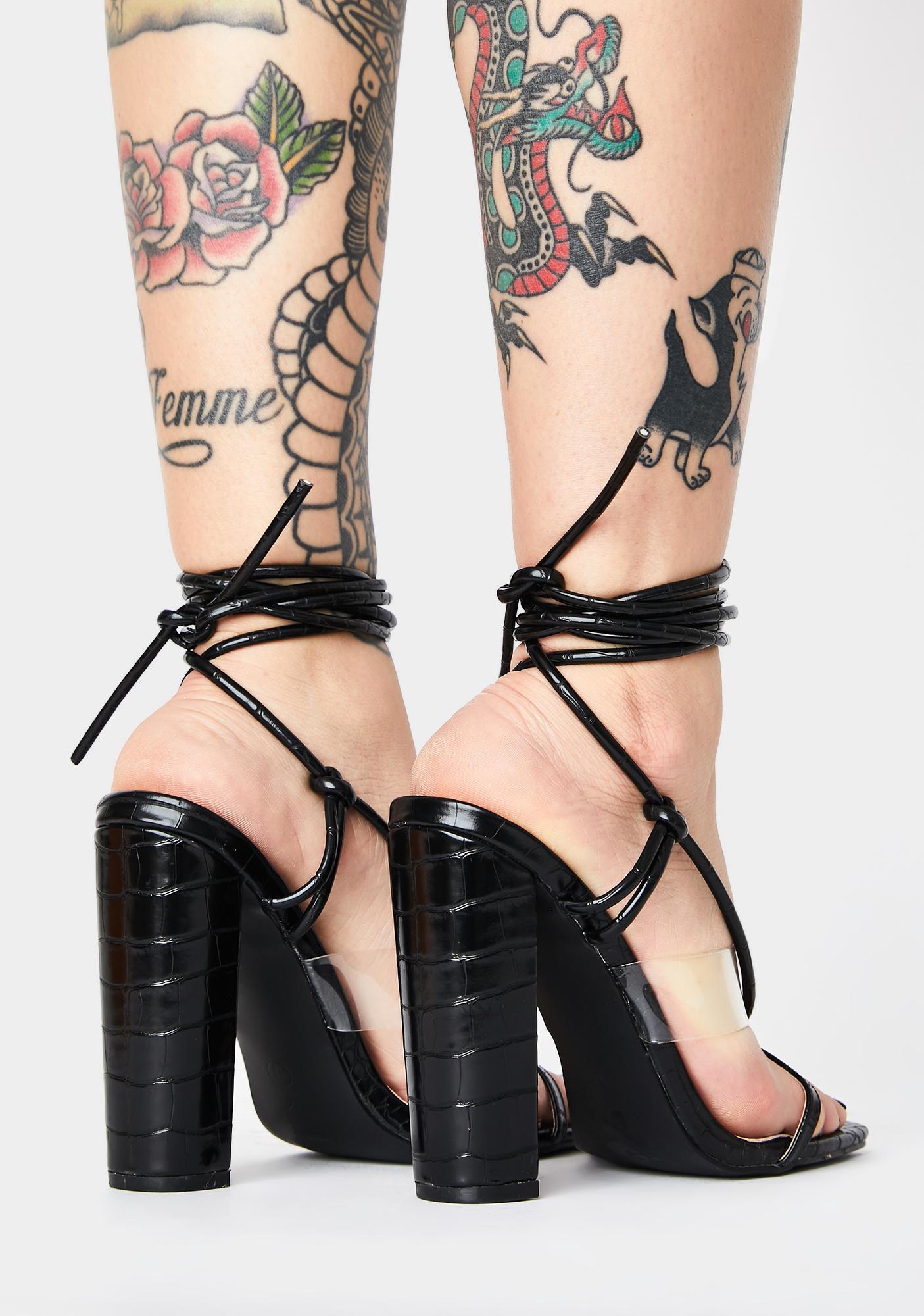 Public Desire Fussy Lace Up Block Heels