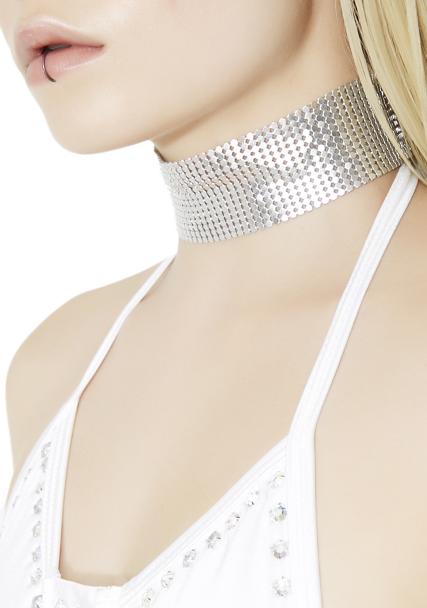 Wide Metallic Chainmail Choker Silver
