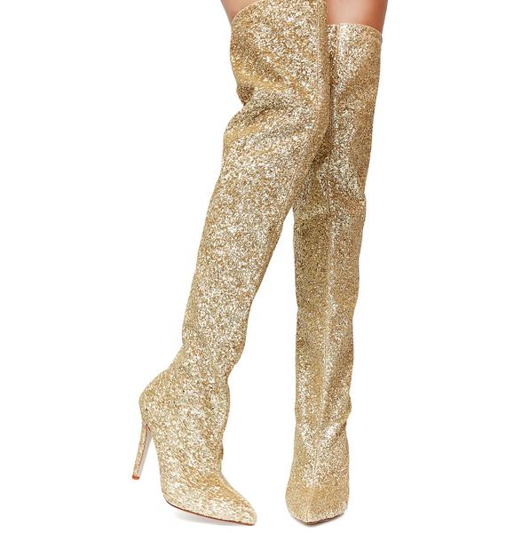 Gold Glitz N' Glamour Glitter Thigh-High Boots