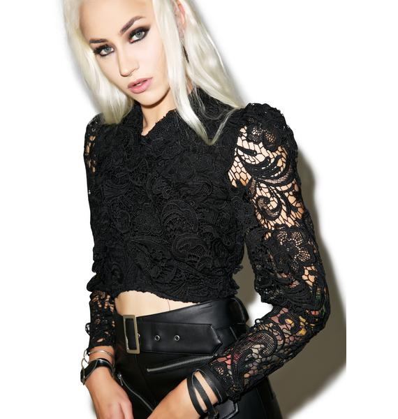 Nightwalker Twisted Lace Cropped Shirt