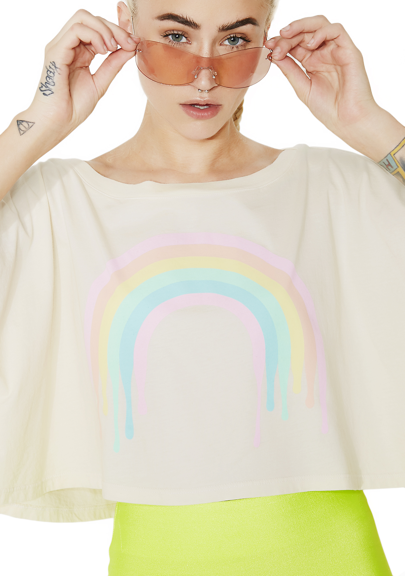 MeYouVersusLife Dripping Rainbow Cropped Graphic Tee