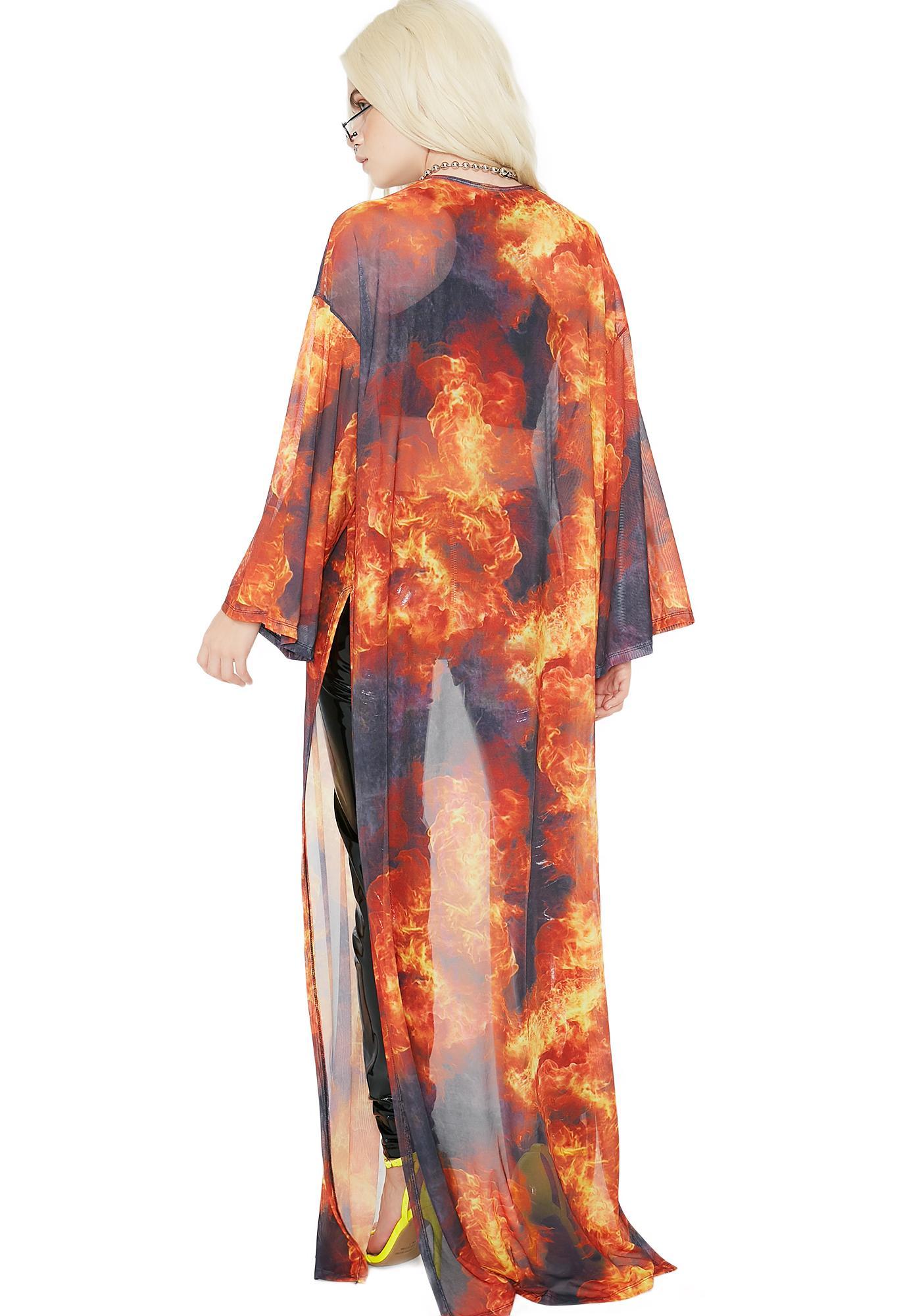 Burning Desire Flame Kimono