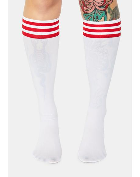 Red Sporty Sass Stripe Knee High Socks