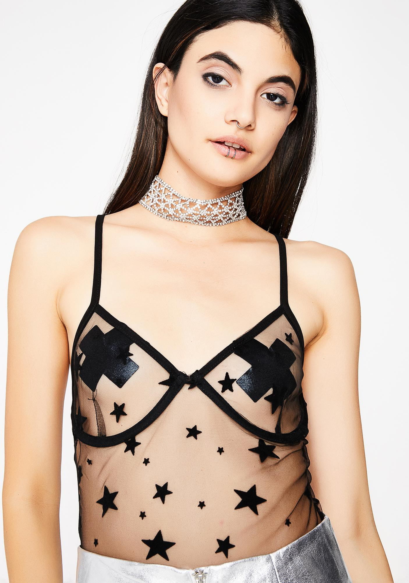 2aad7168862 Black Sheer Star Bodysuit