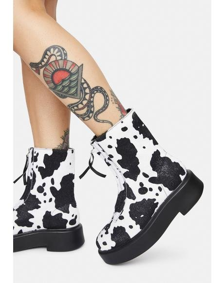 Cow Print Leoni Zip Up Ankle Boots