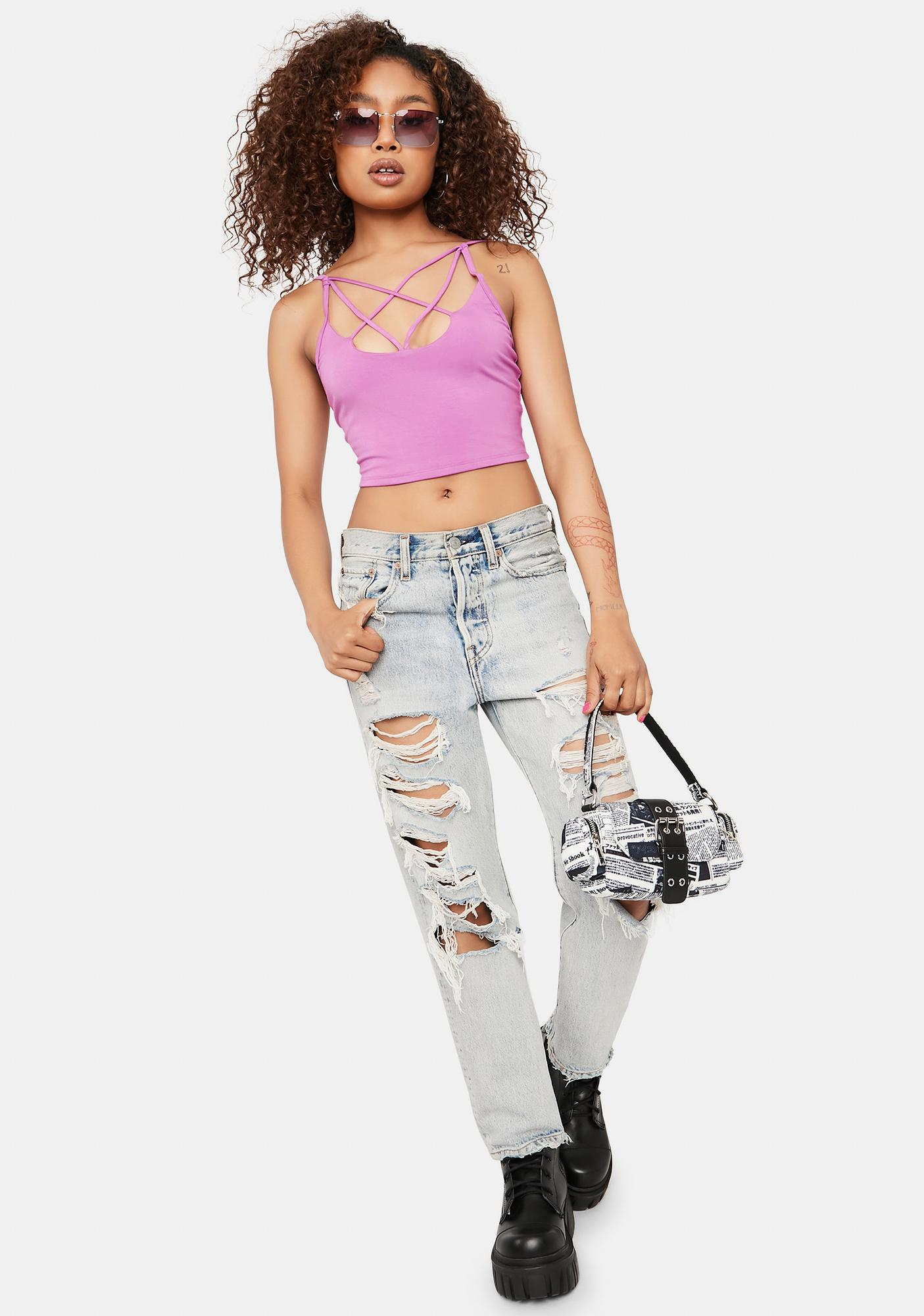 Lilac Fashionably Late Strappy Crop Tank