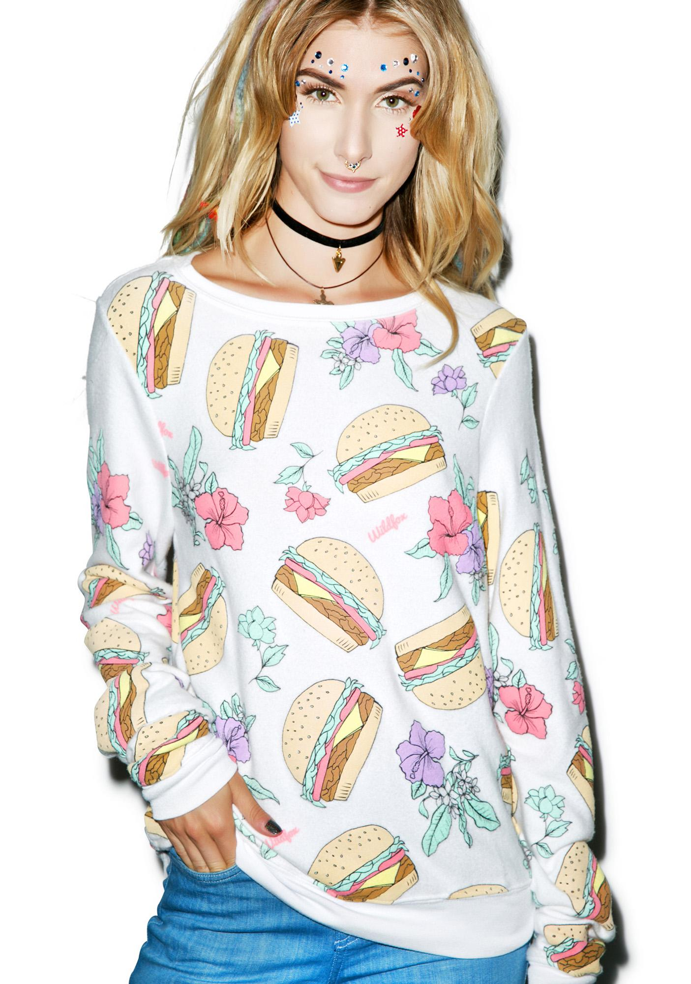 Wildfox Couture Hamburgers Baggy Beach Jumper