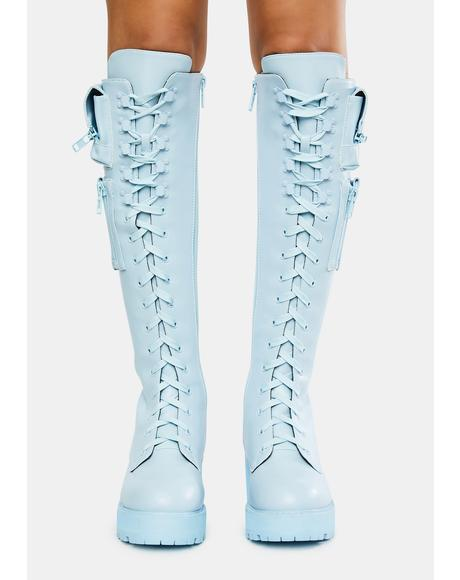 Baby Blue Obsidian Pocket Combat Boots