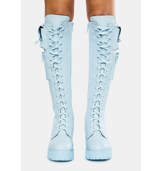 Sugar Thrillz Baby Blue Obsidian Pocket Combat Boots