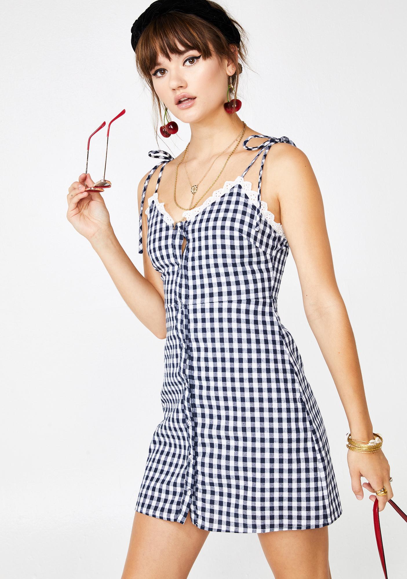 Berry Take My Digits Gingham Dress