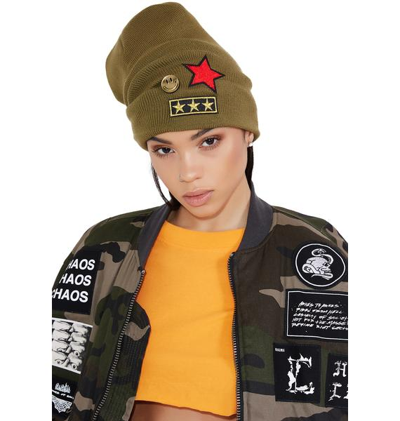 Air Raid Military Patch Beanie