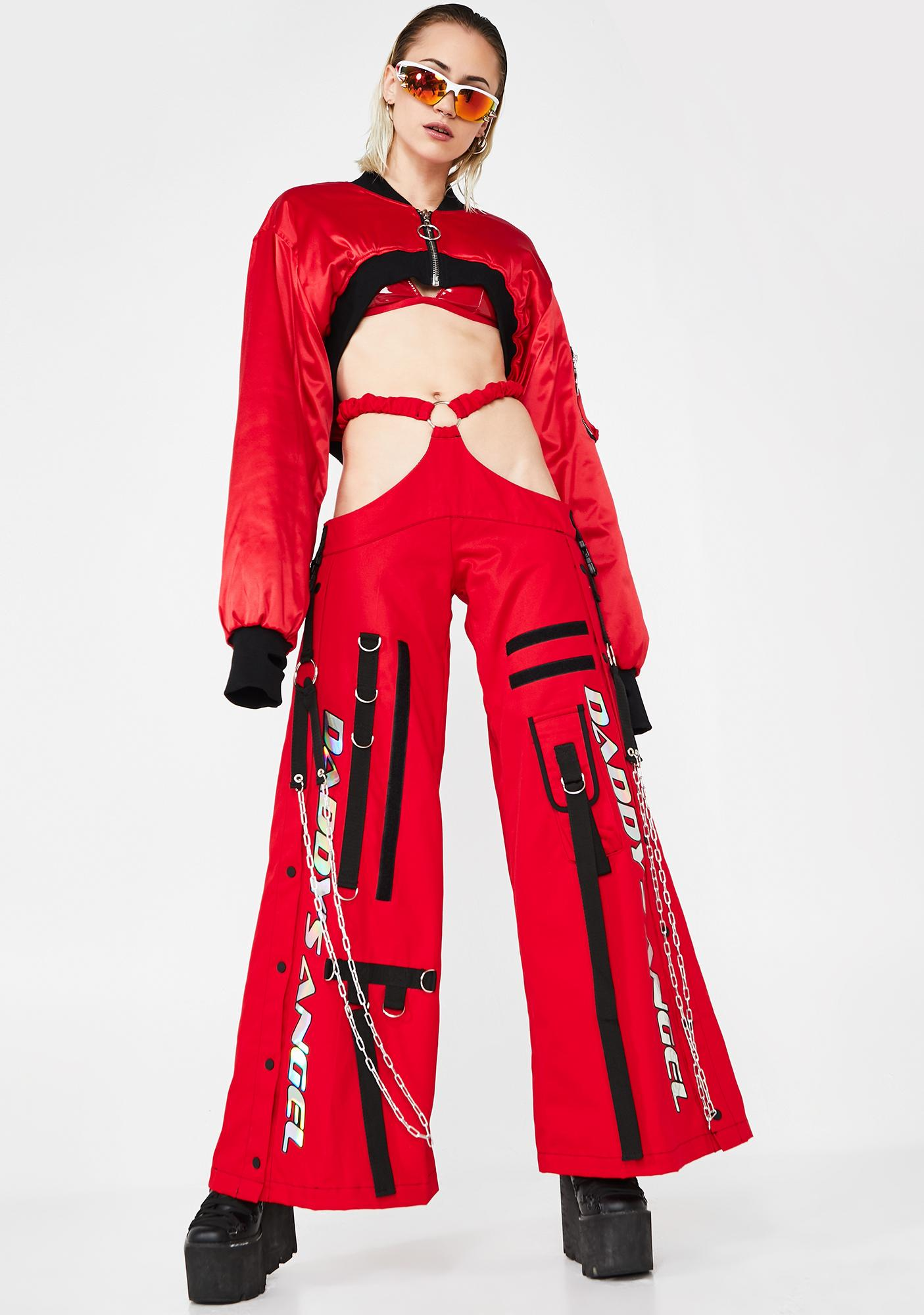 Namilia Red Canvas G-String Rave Trousers
