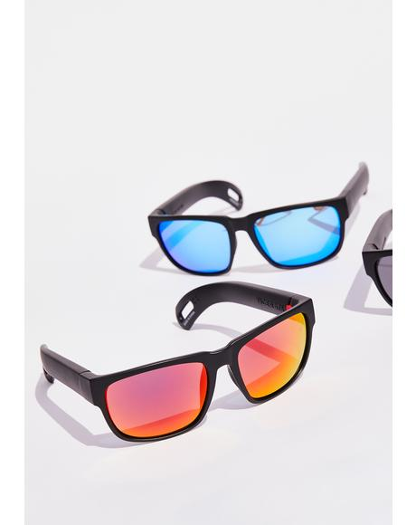 Red Hidden Storage Mirror Lens Sunglasses