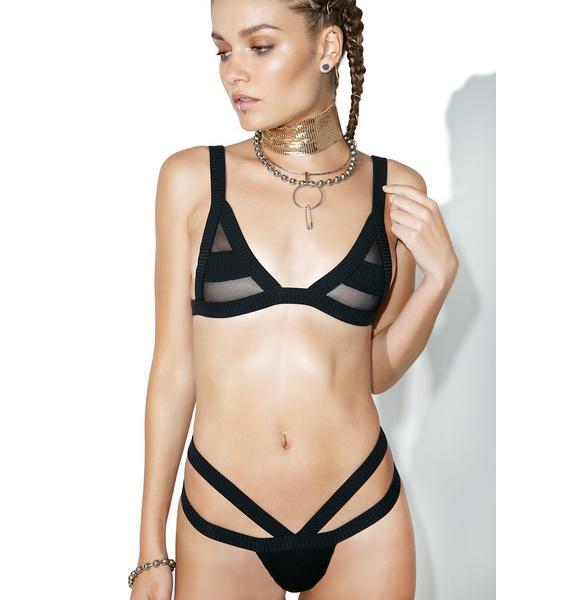 Minimale Animale Black Bandit Rib Bikini Top