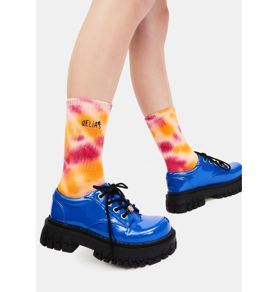 dELiA*s by Dolls Kill Day Tripper Tie Dye Logo Socks